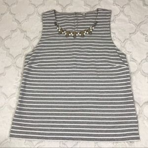 J. Crew Striped top jewels Grey white shirt