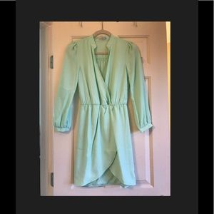 Mint green wrap dress with long sleeves
