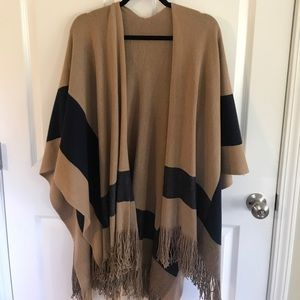 BcbGeneration fringe lined striped poncho