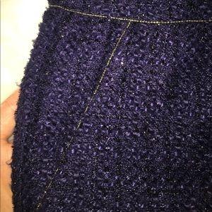 Navy blue metallic tweed dress shorts