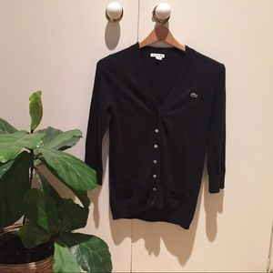 Lacoste cropped sleeve lightweight cardigan