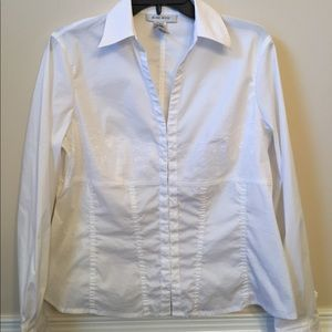 Nine West white blouse with lace detail hook front