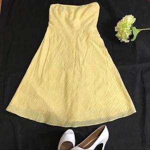 J. Crew Yellow Embossed Strapless Cotton Dress