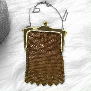 Vintage Whiting and Davis mesh bag Brown chainmail