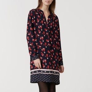 ANN TAYLOR LOFT - Long Sleeve Floral Shirt Dress M
