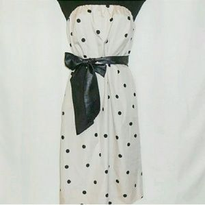 J. Crew Strapless Polka Dot Dress Size 6 w/Belt