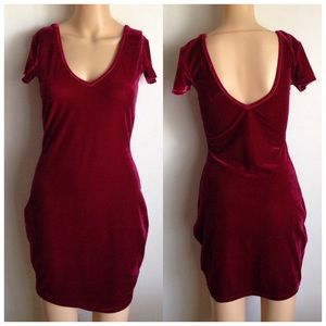 Crushed Velvet Red Festive Bodycon Dress XS S