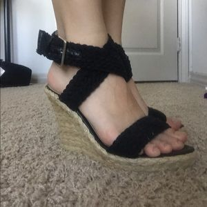 Black Strappy Wrap Wedges