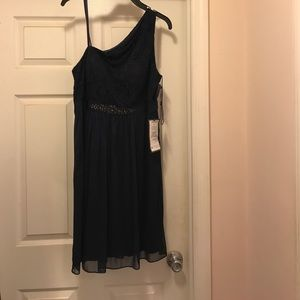 One shoulder navy blue cocktail dress