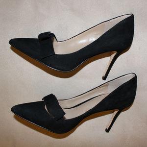 Ann Taylor BLACK SUEDE Heels Shoes Work Pumps 7