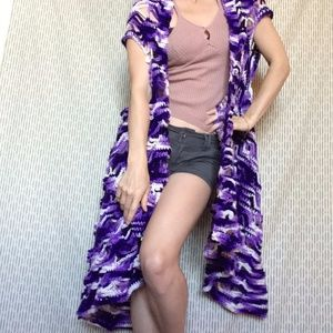 SHOW STOPPER Royal Purple Knit Flowy Vest Cardigan