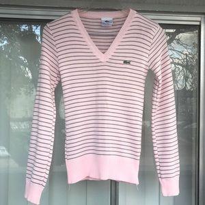 Lacoste Blush Pink & Gray Stripe V neck Sweater S