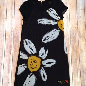 Desigual black silky flower print dress