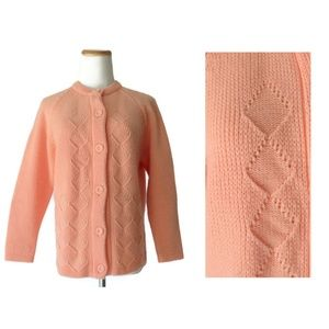 Vintage 70s Peach Knit Cardigan Sweater