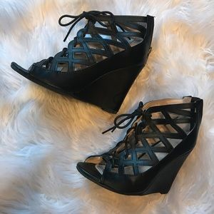 Black lace up wedge with cut-outs