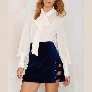 NWT NASTY GAL BLUE velvet skirt