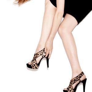 """Diane von Furstenberg """"Zia"""" Leopard Calf Hair Heel"""