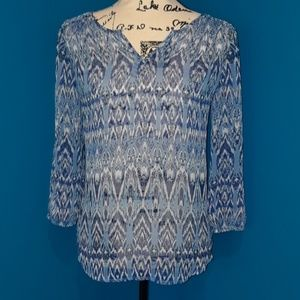 St. Johns Bay Sheer Blue Blouse with Ikat print