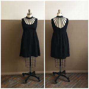 vintage 60s cage neck goth babydoll mod mini dress