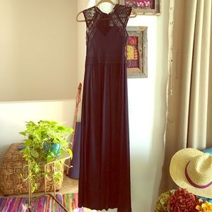 H&M Embroidered Maxi Evening Dress