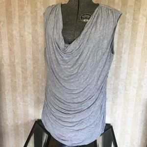 Draped neck sleeveless top