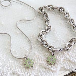 SET! Coach Pale Green Daisy Bracelet & Necklace
