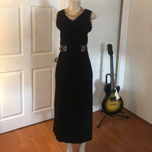 Vintage Faux Suede Sheath Maxi Dress