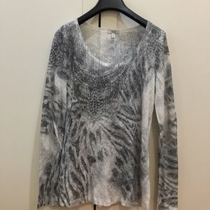Cache long sleeves top with rhinestones