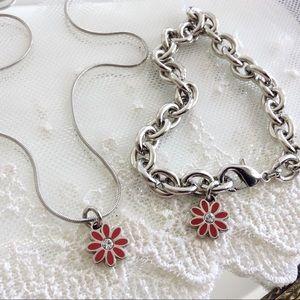 SET! Coach Red Daisy Charm Necklace & Bracelet
