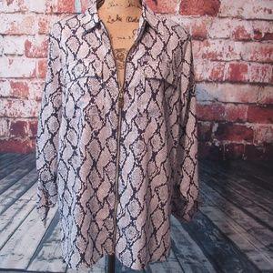 Michael Kors Blue/White Snake Print Tunic Blouse