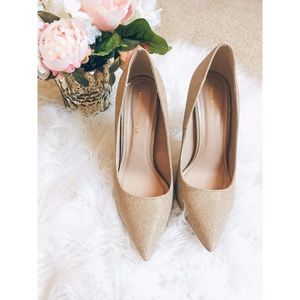 Gold Pointed Toe Party Pumps