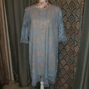 Lace Shift Midi Dress
