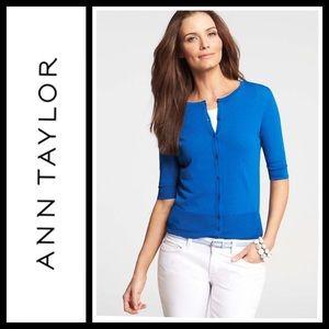 Ann Taylor Royal Blue Short Sleeve Cardigan