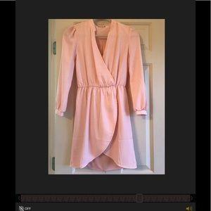 Light pink asymmetrical wrap dress