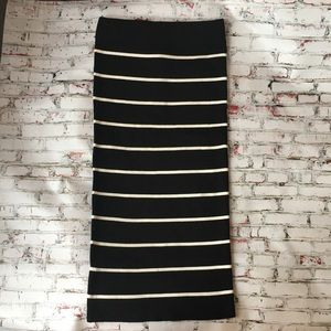 NWT Lulu's Black and White Striped Pencil Skirt
