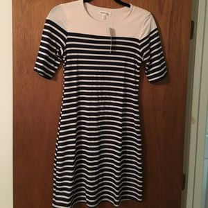 Navy and cream striped dress nwt