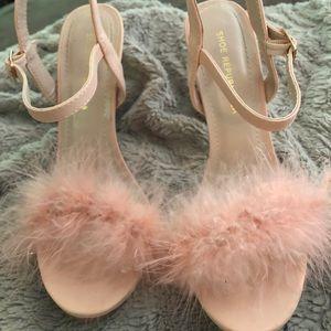 Shoe Republic LA pink fuzzy heels