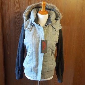 YOKI Grey Hooded Sweatshirt Coat Size Large NWT