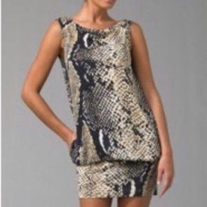 DVF Diane von Furstenberg Snakeskin Silk Dress 0
