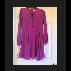 Gianni Bini long sleeve purple tie front dress