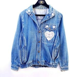 Vintage Oversized Girly Bomber Jean Jacket