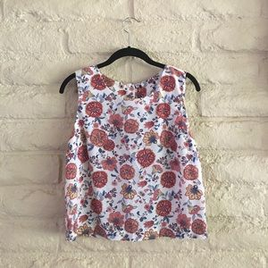 vintage tapestry floral shell sleeveless mod tank