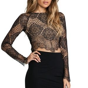 For Love and Lemons Black/Nude Lace Crop, size S