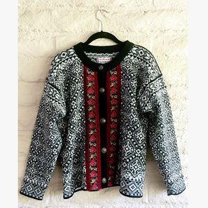 vintage iceland fair isle velvet cardigan sweater