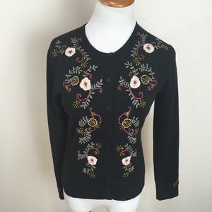 CAbi Embroidered Beaded Floral Black Cardigan
