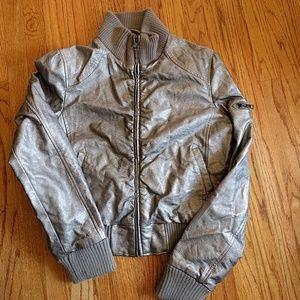 Metallic silver bomber jacket