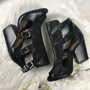Schutz Celena peep toe gladiator buckle booties