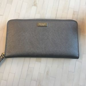 Kate Spade Dark Metallic Silver Wallet