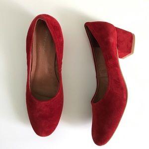 Jeffrey Campbell red suede Bitsie heels size 9