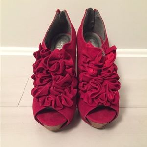 Red ruffle booties